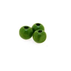 Houten kraal, rond, groen, 6 mm (25 gram)