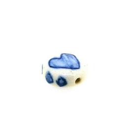 Keramiek kraal, rond, hart, Delfts blauw, 14 mm (8 st.)