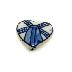 Keramiek kraal, hart, molen, Delfts blauw, 27 mm (4 st.)