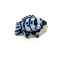 Keramiek kraal, vis, Delfts blauw, 18 mm (8 st.)