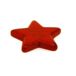 Gekleurd Turquoise kraal, ster, rood, 40 mm (1 st.)