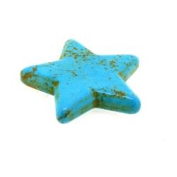 Gekleurd Turquoise. kraal, ster, turquoise, 40 mm (1 st.)