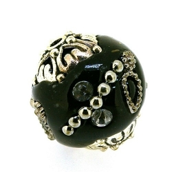 Kashmiri kraal, rond, zwart, 18 mm (5 st.)