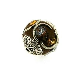 Kashmiri kraal, rond, bruin, 14 mm (5 st.)