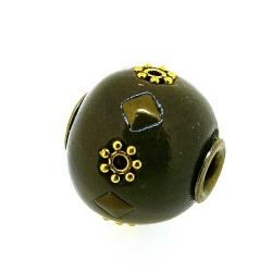 Kashmiri kraal, rond, taupe, groot rijggat, 14 mm (5 st.)