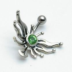 Piercing, zon met groene steen (1 st.)