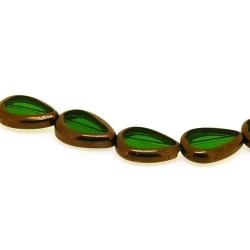 Framed kraal druppel groen/goud 16x12mm (1 streng)