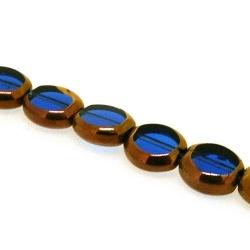 Framed kraal, goud, rond, blauw, 10 mm (1 streng)