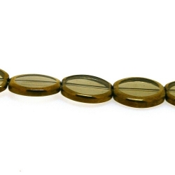 Framed kraal, goud, ovaal, grijs, 16 x 13 mm (1 streng)