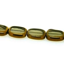 Framed kraal, goud, rechthoek, grijs, 14 x 12 mm (1 streng)