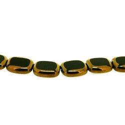 Framed kraal, goud, rechthoek, zwart, 14 x 12 mm (1 streng)