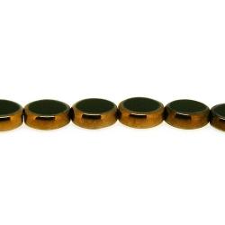 Framed kraal, goud, ovaal, zwart, 12 x 10 mm (1 streng)