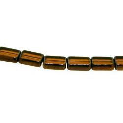 Framed kraal, goud, rechthoek, bruin, 12 x 8 mm (1 streng)