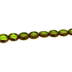 Framed kraal, goud, vierkant, groen, 10 mm (1 streng)