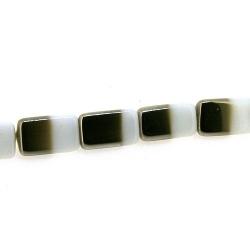 Glas kraal duo tone folie driehoek wit/zilver 15 x 9 mm (streng)