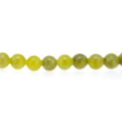 Gekleurd steen kraal, rond, olijfgroen, 4 mm (streng)