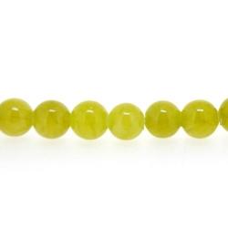 Gekleurd steen kraal, rond, olijfgroen, 6 mm (streng)