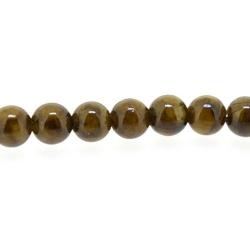 Gekleurd steen kraal, rond, bruin, 4 mm (streng)