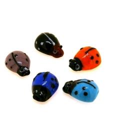 Glaskraal, lieveheersbeestje, diverse kleuren, 14 mm (streng)