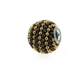 Kashmiri kraal, rond, bruin/goud, groot rijggat, 12 mm (5 st.)