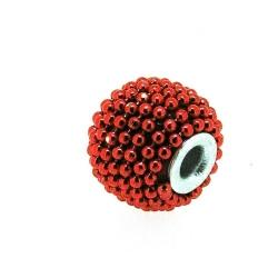 Kashmiri kraal, rond, oranje, groot rijggat, 12 mm (5 st.)