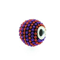 Kashmiri kraal, rond, paars/oranje-rood, groot rijggat, 12 mm (5 st.)