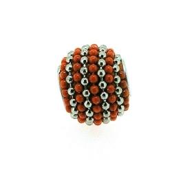 Kashmiri kraal, rond, oranje/zilver, groot rijggat, 12 mm (5 st.)