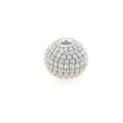 Kashmiri kraal, rond, wit, groot rijggat, 12 mm (5 st.)