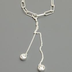 Ketting, sterling zilver met Swarovski kristallen (1 st.)