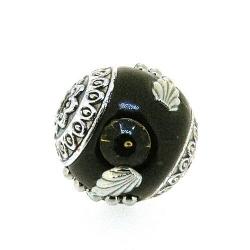 Kashmiri kraal, rond, bruin, 18 mm (3 st.)