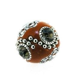 Kashmiri kraal, rond, oranje, rookbruine strass, 20 mm (3 st.)