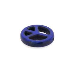 Gekleurd Turquoise kraal, Peace teken, blauw, 20 mm (5 st.)