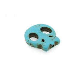 Gekleurd Turquoise, kraal, skull, turquoise, 22 mm (5 st.)