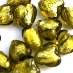 Glaskraal, hartje met zilverfolie, olijfgroen, 12 mm (5 st.)