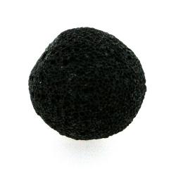 Lava kraal, rond, zwart, ruw, 20 mm (3 st.)