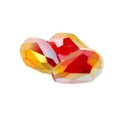 Glaskraal, druppel met facetten, rood, AB, 12 x 8 mm (6 st.)