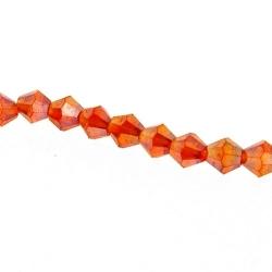 Glaskraal, bicone, facetten, rood, AB, 4 mm (1 streng)