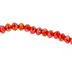 Glaskraal, donut, facetten, rood, AB, 3 x 4 mm (1 streng)