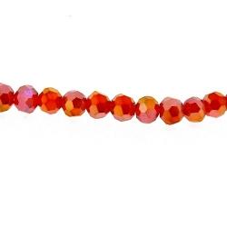 Glaskraal, rond, facetten, rood, AB, 4 mm (1 streng)