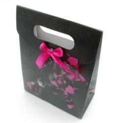 Cadeautasje, zwart/roze, roos, groot, 41-2 (1 st.)