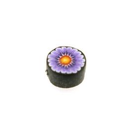 Fimokraal, rond, paars, bloemetje, 10 mm (streng)