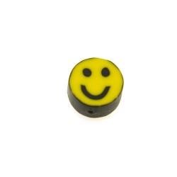 Fimokraal, rond, geel, smile, 10 mm (streng)
