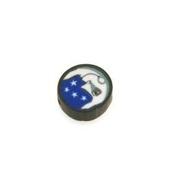 Fimokraal, rond, maan met sterren, blauw/wit, 10 mm (streng)