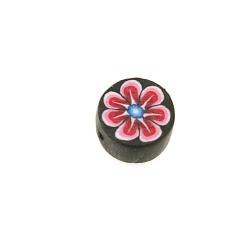 Fimokraal, rond, bloemetje, roze/zwart, 8 mm (streng)