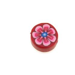Fimokraal, rond, bloemetje, roze, 10 mm (streng)