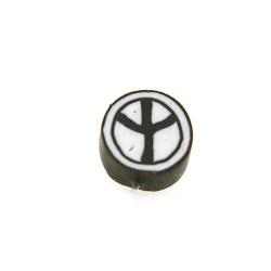 Fimokraal, rond, Peace teken, zwart/wit, 10 mm (streng)