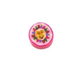 Fimokraal, rond, zon, roze, 10 mm (streng)