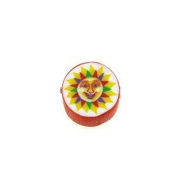 Fimokraal, rond, zon, rood, 10 mm (streng)