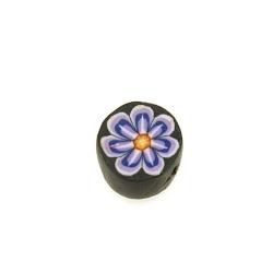 Fimokraal, rond, bloemetje, paars/zwart, 10 mm (streng)
