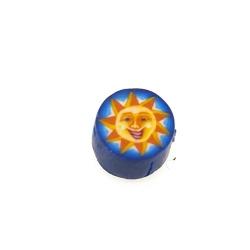Fimokraal, rond, zon, blauw/geel, 10 mm (streng)